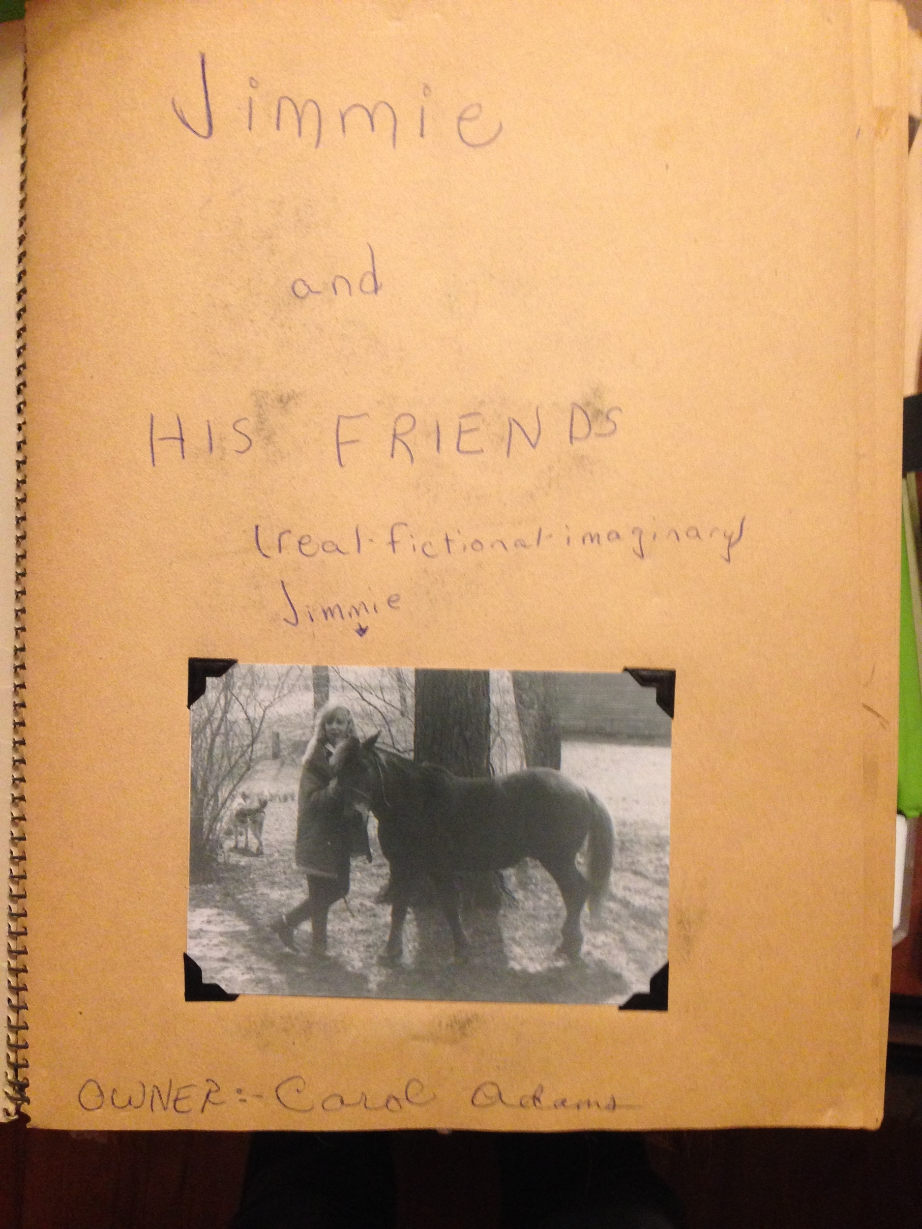 """""""Owner"""" refers to owner of the scrapbook. Three sisters were given Jimmy (we settled on """"y"""" for his name after I started the scrapbook)and shared responsibilities for him."""