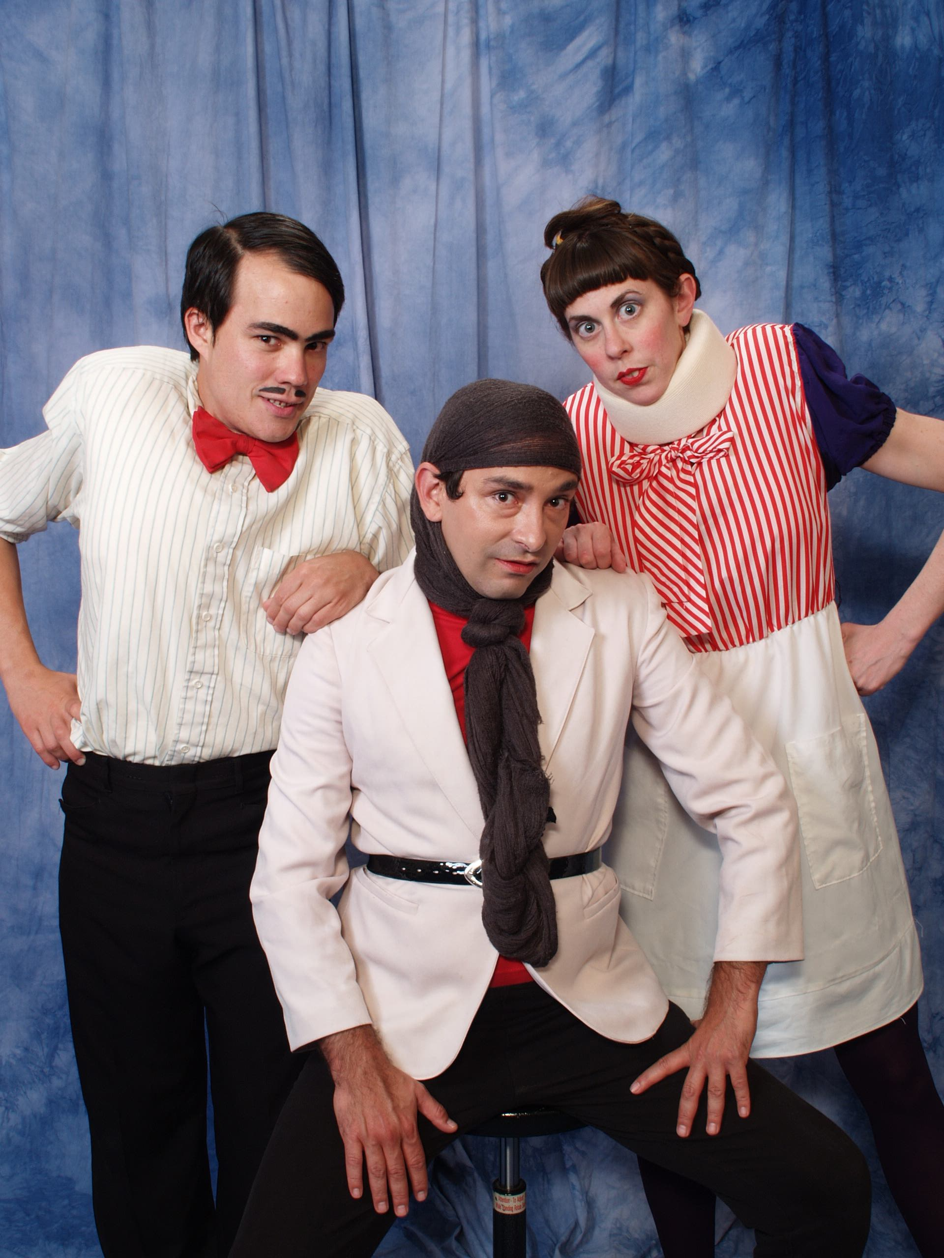 Matt Chapman, Sarah Petersiel and Josh Matthews (front) as The Huchinson Family Players from Under the Table's current touring show  The Hunchbacks of Notre Dame.