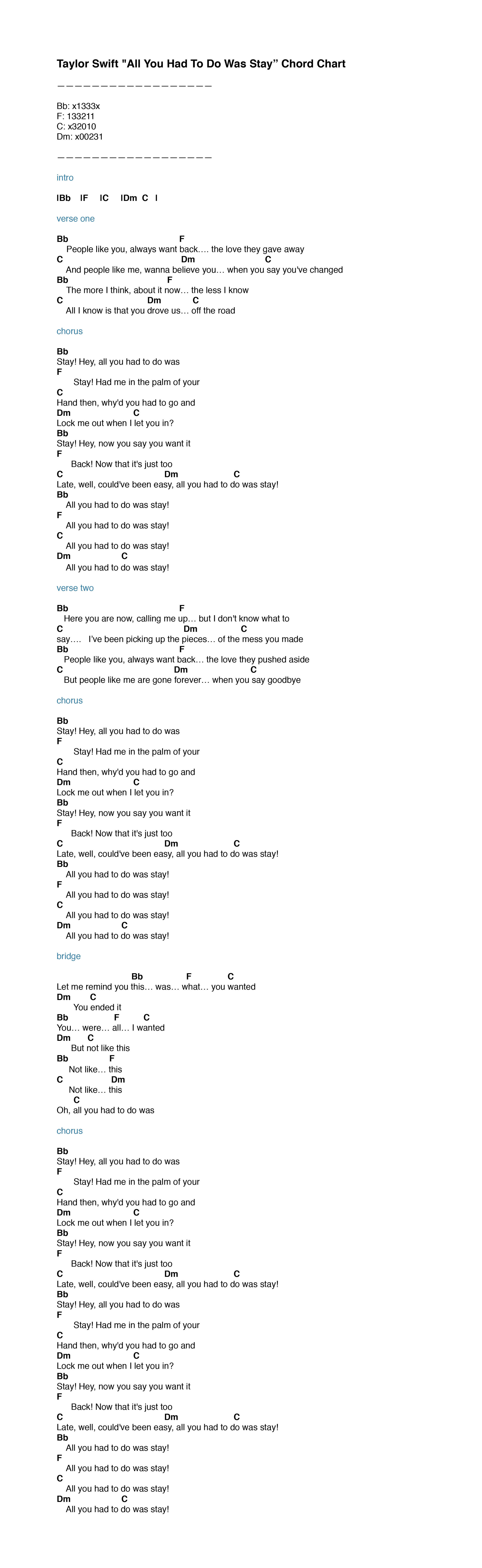 Taylor Swift Stay Chord Chart