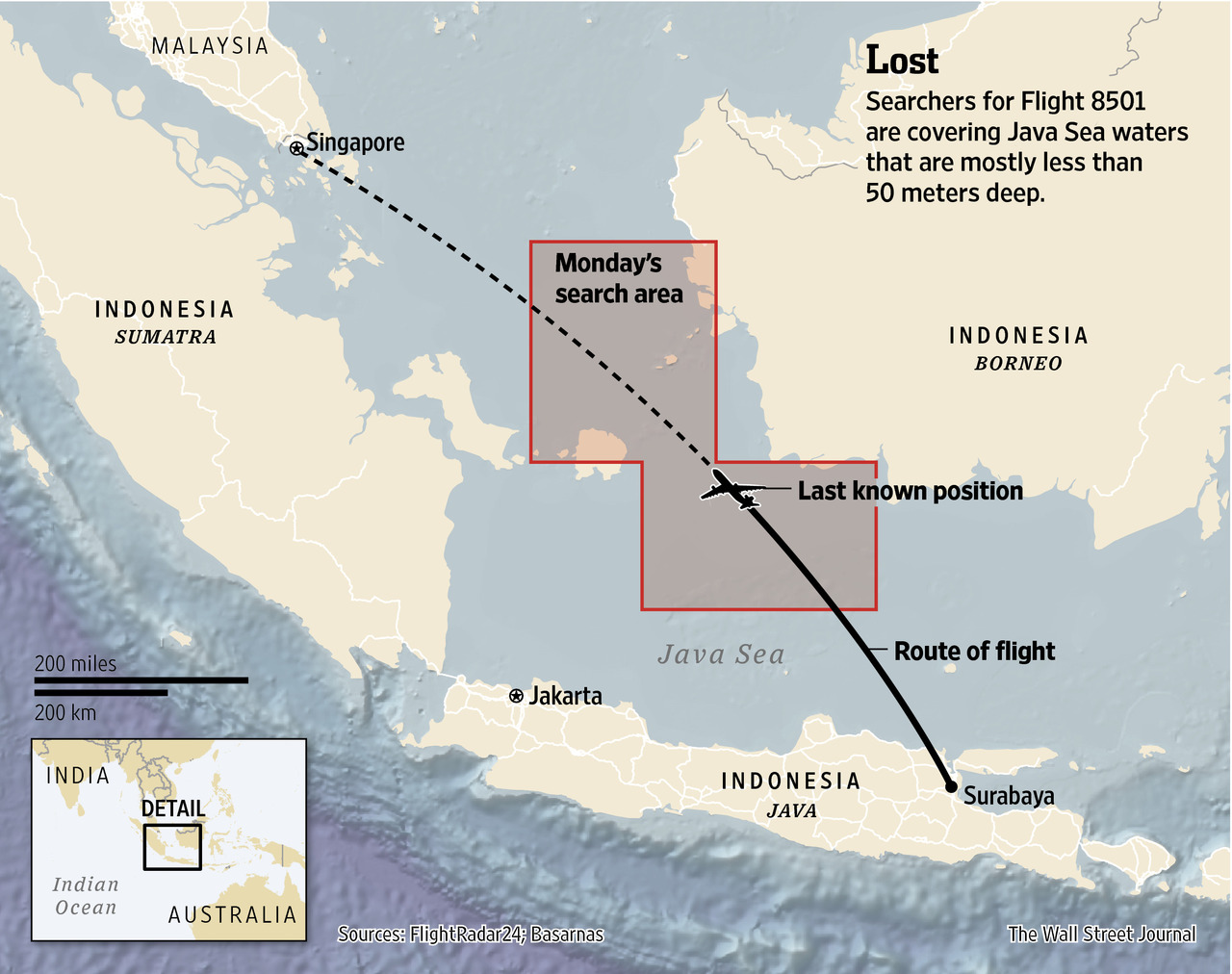 This graphic by the WSJ depicts the size of Monday's (29 December 2014) search area spanning the Java Sea tracking the actual flight path and the projected flight path of the airliner