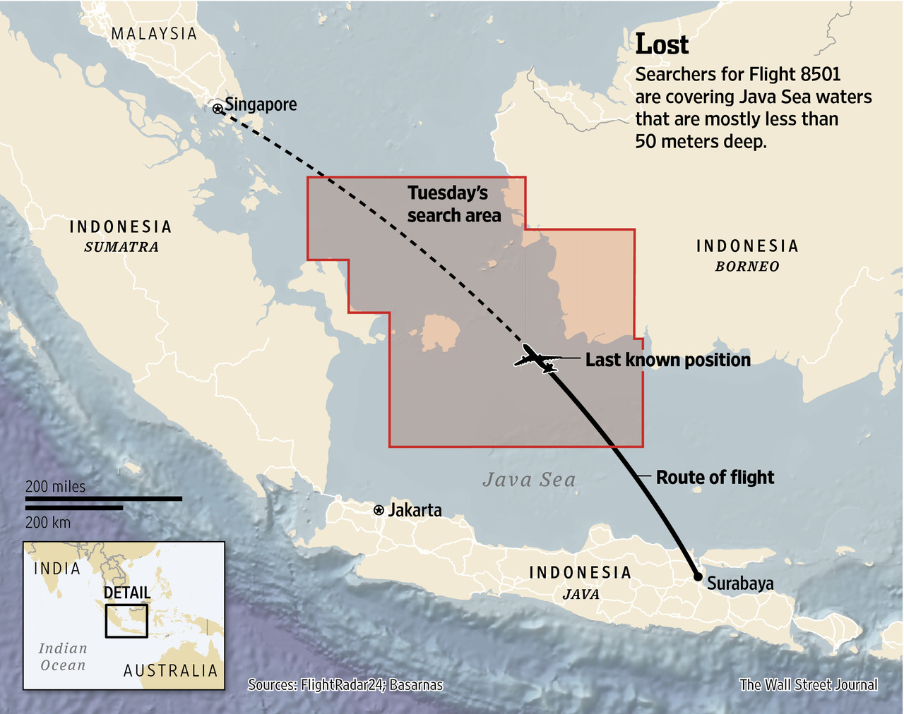 A day after futile efforts to locate the A320 operating Flight QZ8501, the official search area on Tuesday (30 December 2014) has more than doubled according to this WSJ graphic