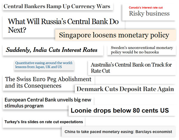 Financial media has been rife with such headlines as currency war memes start to resurface as an unintended consequences of pushing rates to their lower bounds