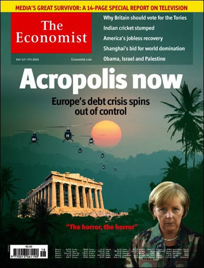"""30 April 2010:  The cover page features German Chancellor Angela Merkel in military uniform staring squarely forward amidst a backdrop of an emergency hanging over Athens. """"Acropolis now"""" bangs in bold white font, highlighting the dire state of affairs as the sun sets behind its national monument.  Image from The Economist"""