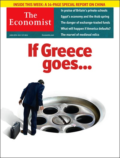"""25 June 2011:  """"If Greece goes..."""" down the sink hole as a man clothed in a business suit looks over. 2011 was a year of uncertainty for Greeks, bestowed with political reshufflings and confusion over its membership status in the Eurozone.  Image from The Economist"""
