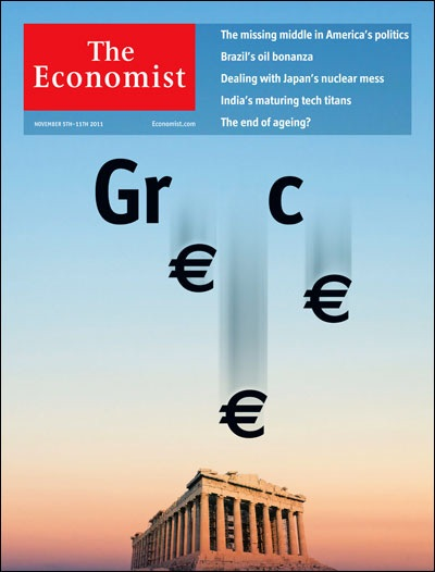 """5 November 2011:  """"GR€€C€"""" is probably the most ill fated nation to join the Eurozone, with the most """"Es"""" or """"€s"""" in its name. As Greece started contemplating dropping the euro, it might be that the country would become incomplete as the depiction suggests. It might also mean that Greece has weighed on the euro, and the Eurozone for that matter.  Image from The Economist"""