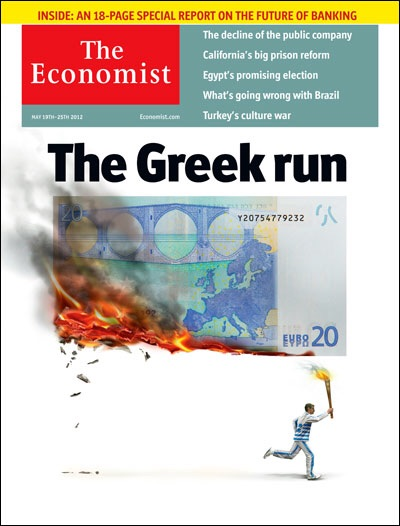 """19 May 2012:  """"The Greek run"""" certainly lights the hairs on Europe's back. But in this aptly illustrated cartoon, the mighty Greek Olympian with a torch from the 2004 Olympics blazes more than just a trail. The euro is being smoked, both literally and perhaps also symbolically.  Image by The Economist"""