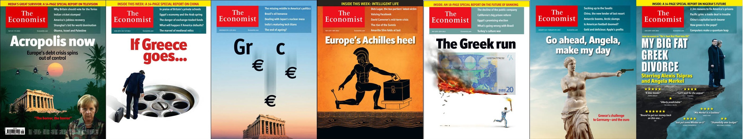 A panorama of the 7 cover pages from The Econimist that feature Greece dating back to April 2010. How times have changed!  Images from The Economist
