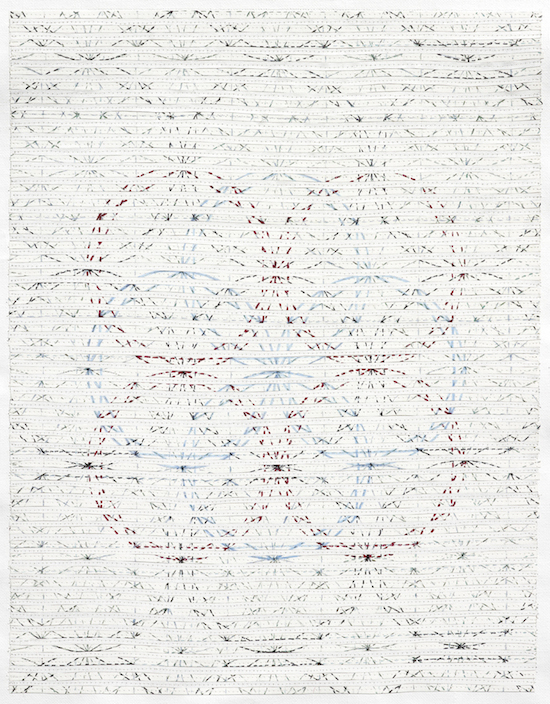 Eveline Kotai - Sand Pattern, 2012, mixed media stitched collage, 60x50cm, Art Collective WA