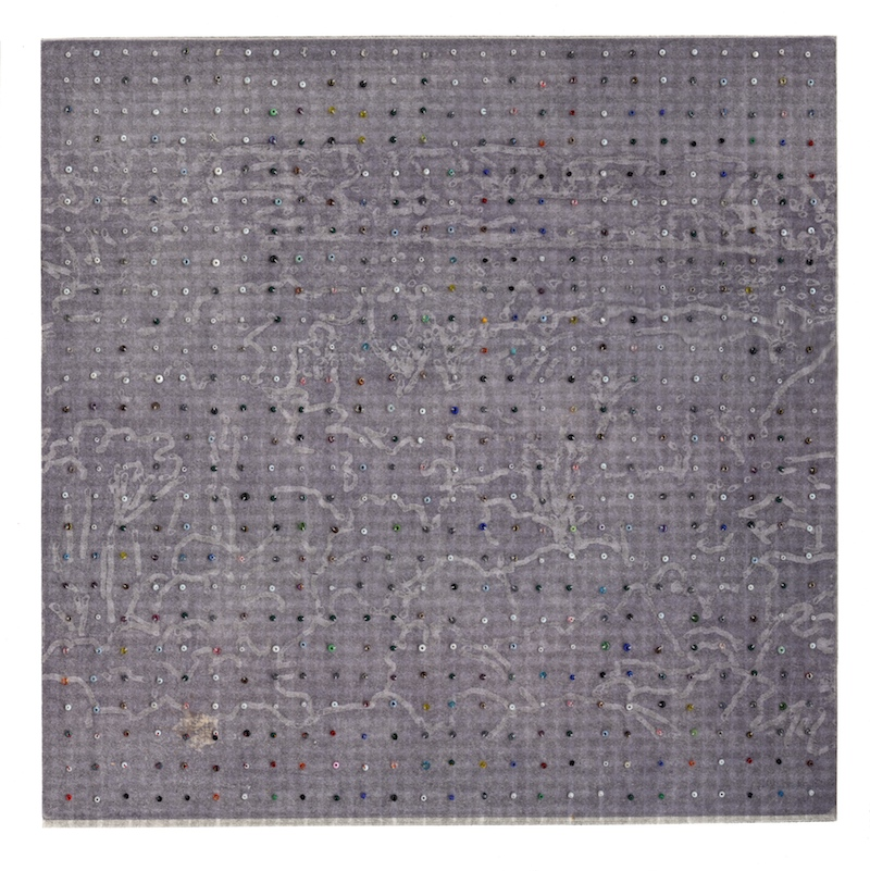 Eveline Kotai - Margaret River Grid, 2005, beads on etching, 30 x 30cm (private collection)