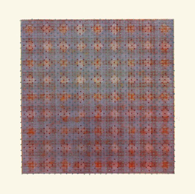 Eveline Kotai - In Diamonds, 2005, beads on silk screen, 30 x 30cm (Art Collective WA)