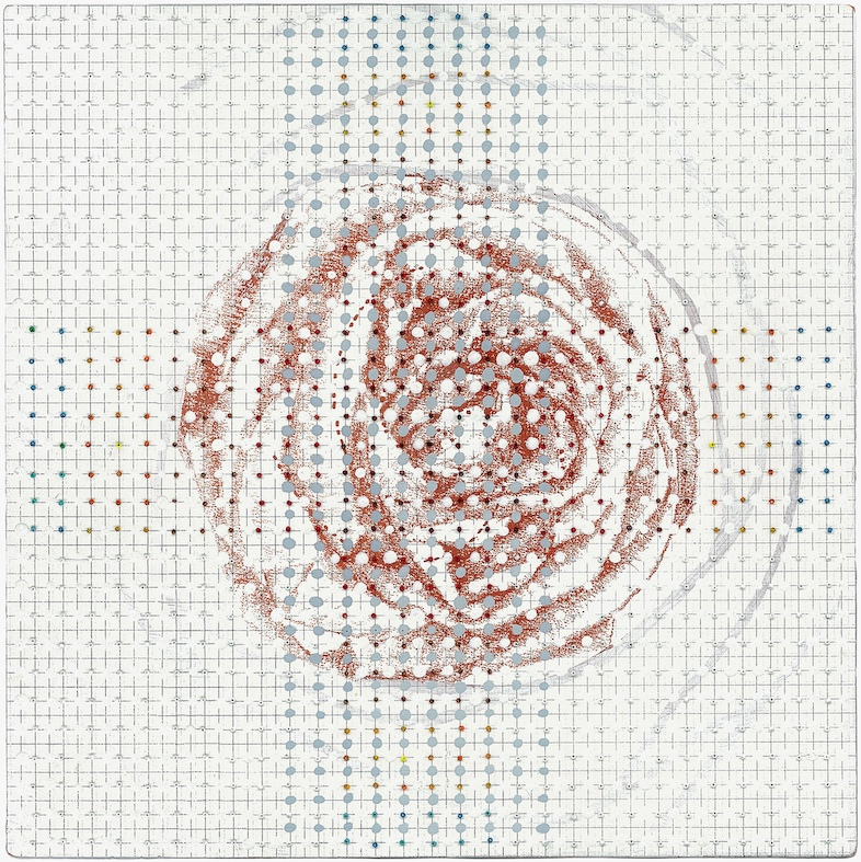 Eveline Kotai - White Rose, 2009, beads and acrylic on arches, 30x30cm (private collection)