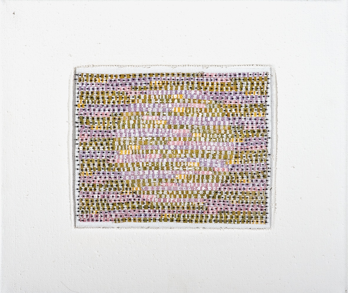 Eveline Kotai - 2012, 25x35cm, beads on stitched acrylic paint, private collection