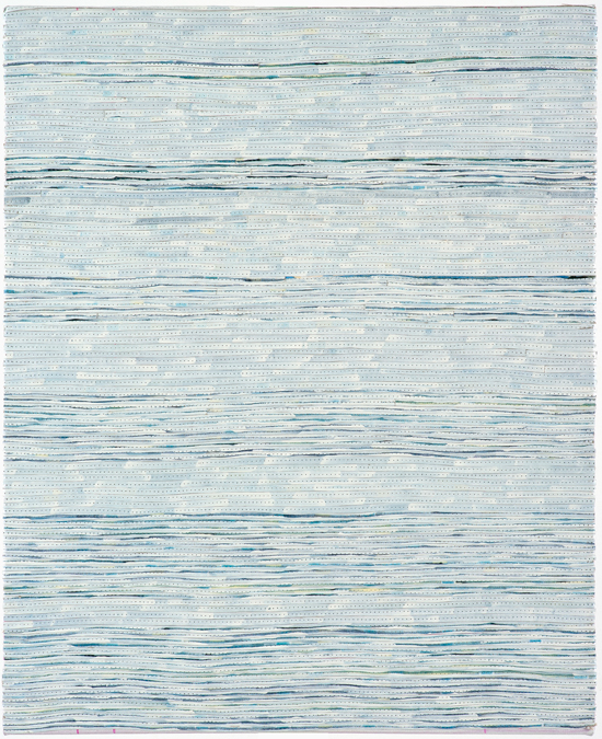 Eveline Kotai - White on Blue 1, 2006, mixed media stitched collage, 50x40cm, private collection
