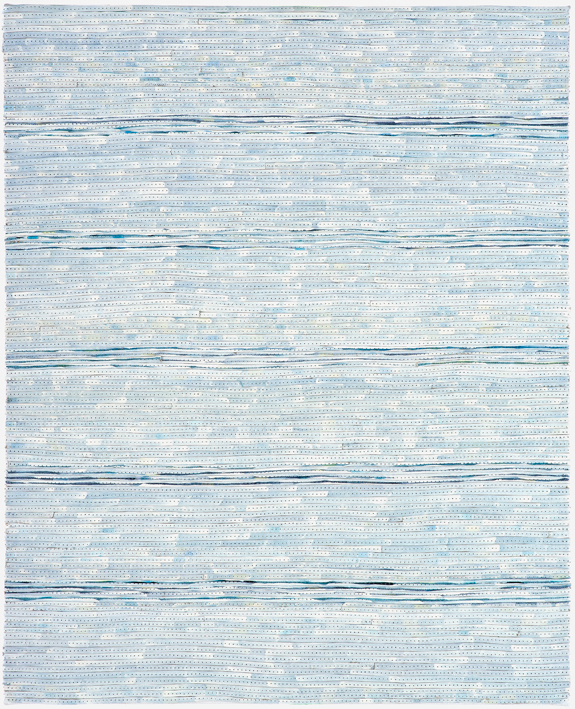 Eveline Kotai - White on Blue 3, 2006, mixed media stitched collage, 50x40cm