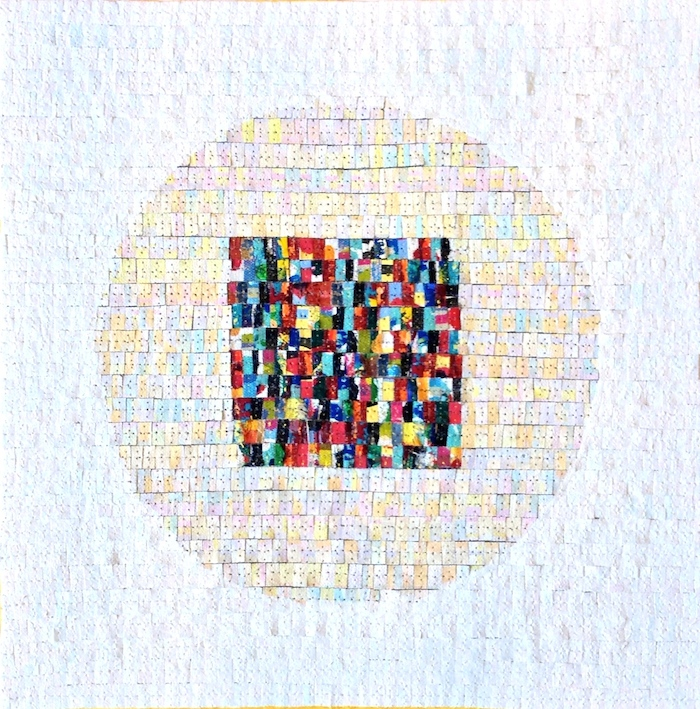 Eveline Kotai - White Mandala, 2012, mixed media stitched collage, 30x30cm