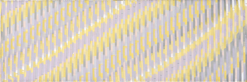 Eveline Kotai - Brush Cleaning Ikat #4, mixed media stitched collage on linen, 25x75cm, collection of artist