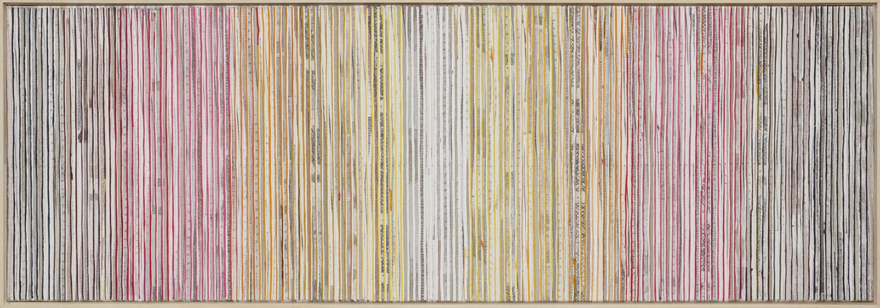 Eveline Kotai - Karri Shift 1, 2014, mixed media stitched collage on linen, 50x150cm, private collection