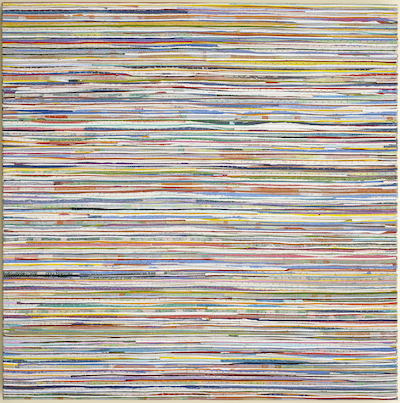 Eveline Kotai - Horizontal Shift, 2014, mixed media stitched collage on linen, 100x100cm, available at Conny Dietzschold Gallery, Sydney