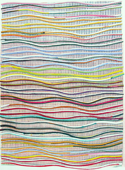 Eveline Kotai, Ripple Effect #6, mixed media stitched collage, 63x53cm, 2014 (private collection)