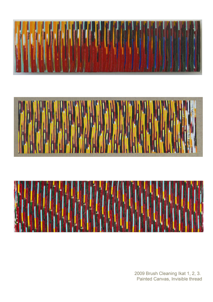 Eveline Kotai - Brush Cleaning Ikat 1,2,3 - 2010, mixed media stitched collage on linen, 25x75cm each, private collection