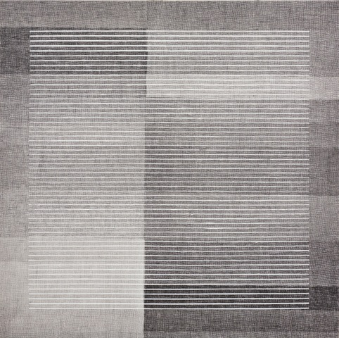 Eveline Kotai - In the Line, acrylic on printed canvas, 105x105 cm, collection of artist