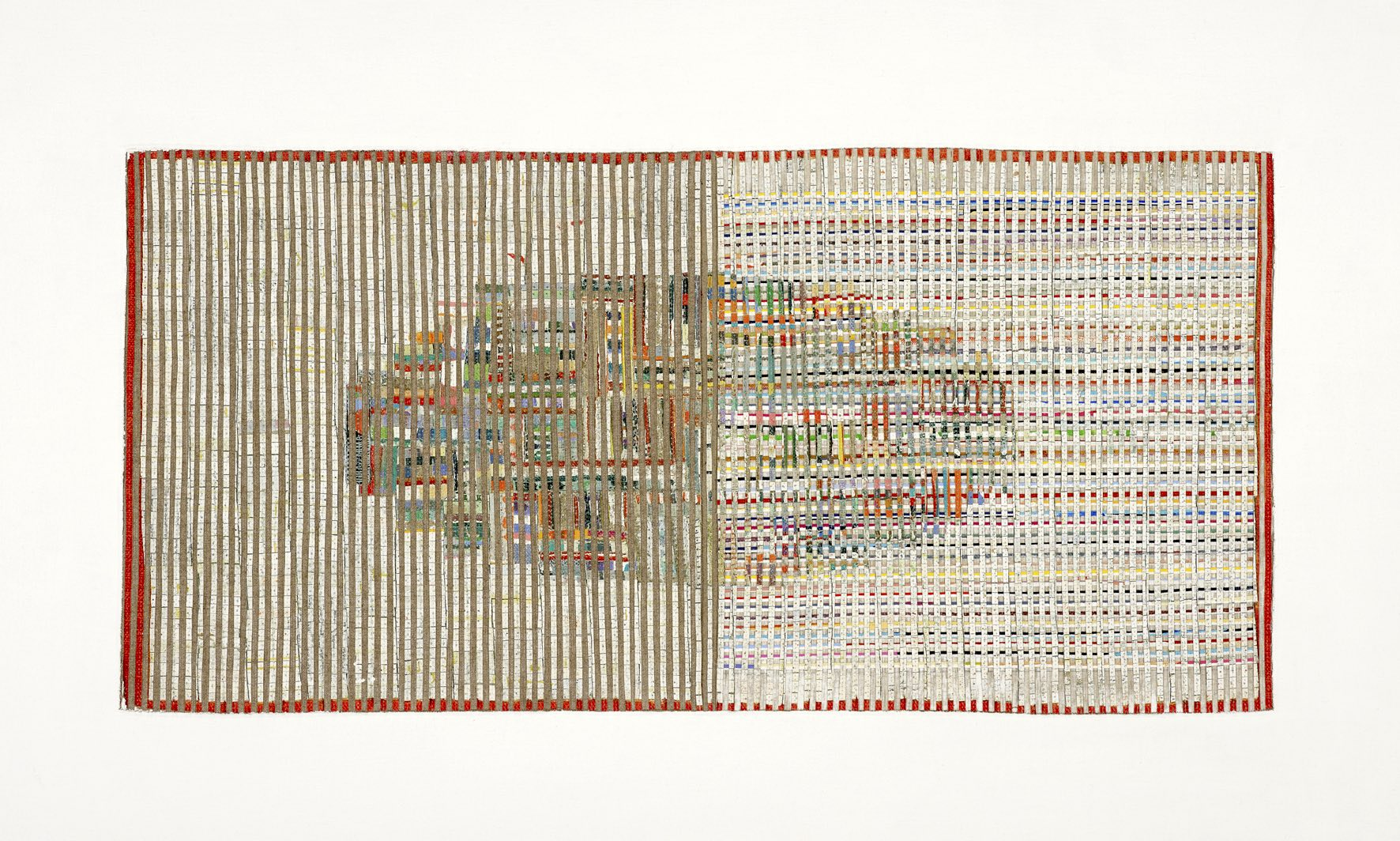 Eveline Kotai - Field for a New Ball 1, 2012, mixed media stitched collage, 60x90cm