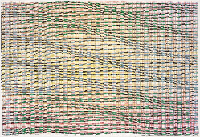 Eveline Kotai, Short Wave 2012, mixed media stitched collage, 54x68cm, collection of artist