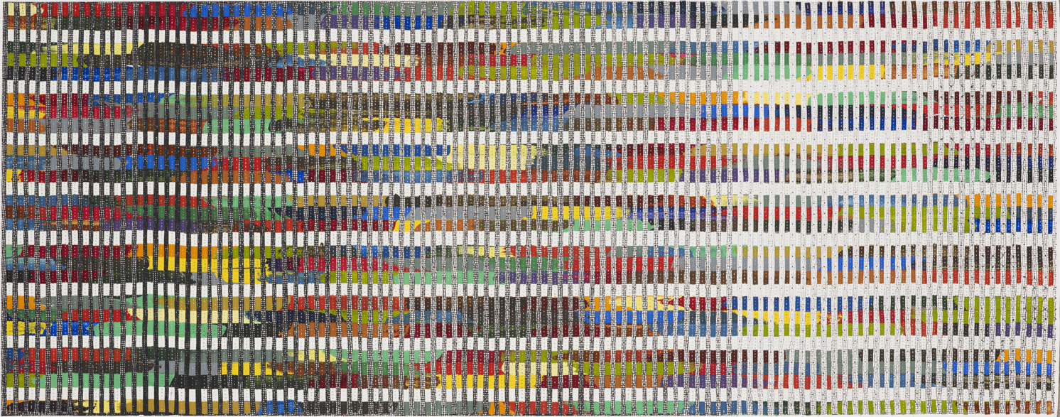 Eveline Kotai - Spectrum on Black Muslin, mixed media stitched collage, 45x110cm, 2014 (City of Perth Collection)