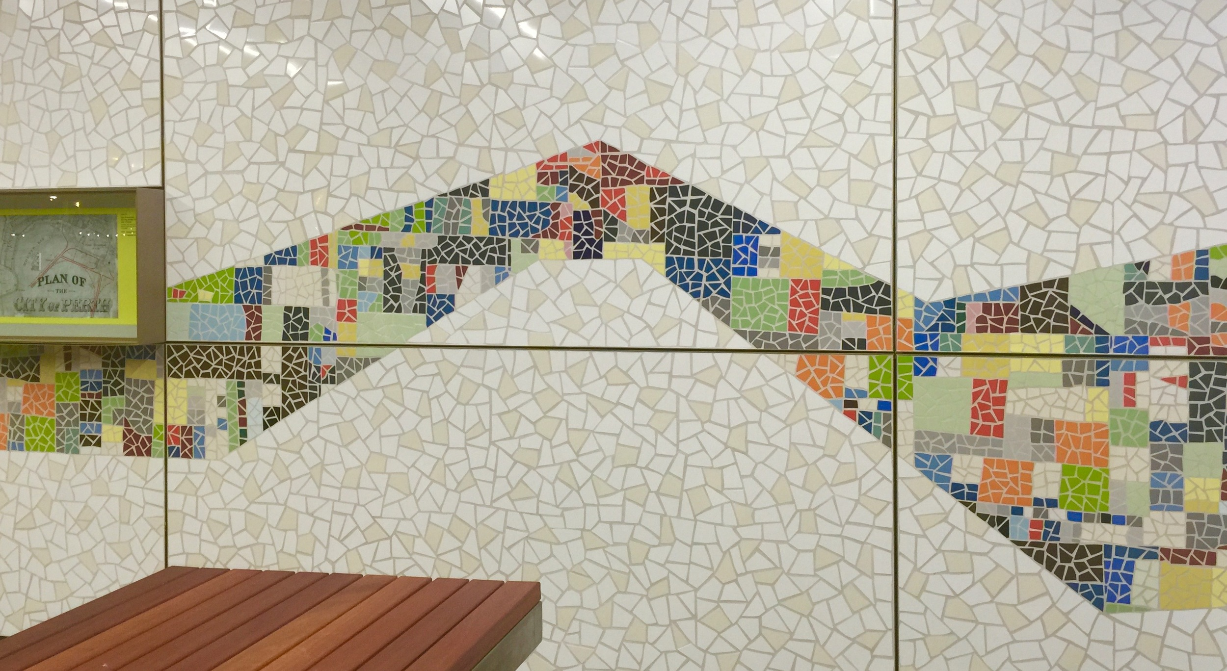 Eveline Kotai & Mathews/Scavali Architects - mosaic in situ - from Spain to WA - facade of FBO4 building at Elizabeth Quay
