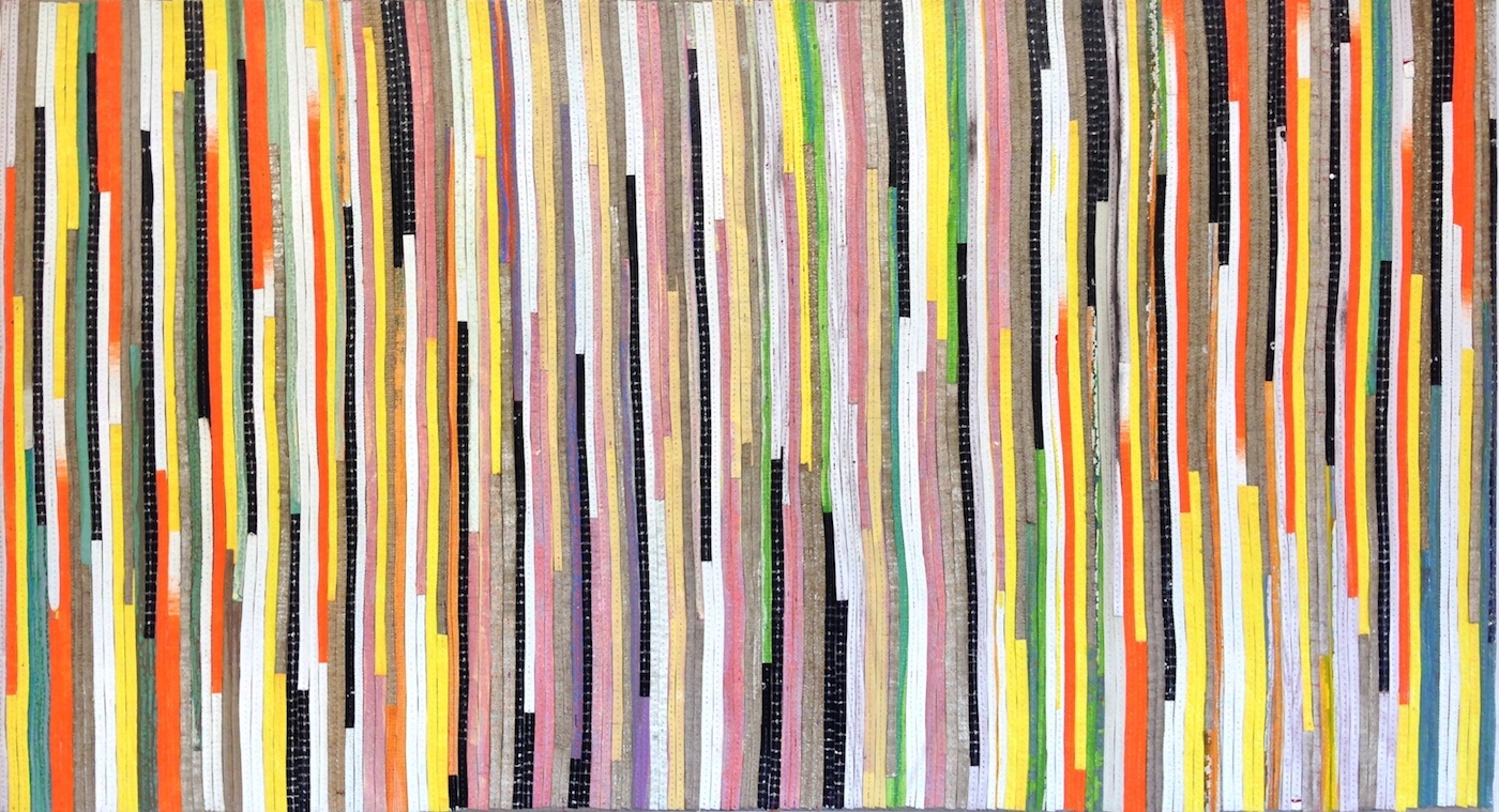 Eveline Kotai - Random Vertical, 2014, mixed media stitched collage on board, 51x76cm, private collection