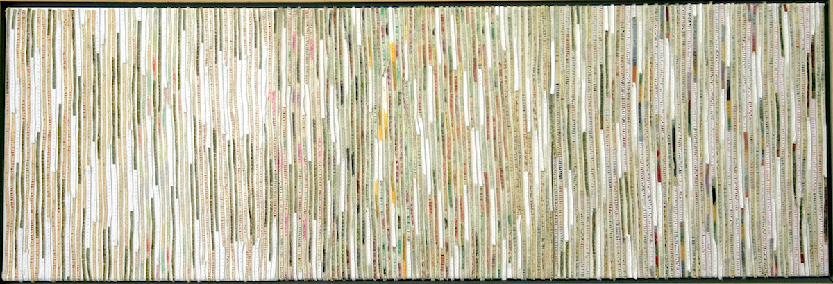 Unfurling 1 Story Lines 2005, acrylic and nylon thread on linen, 27 x 78cm. Private Collection