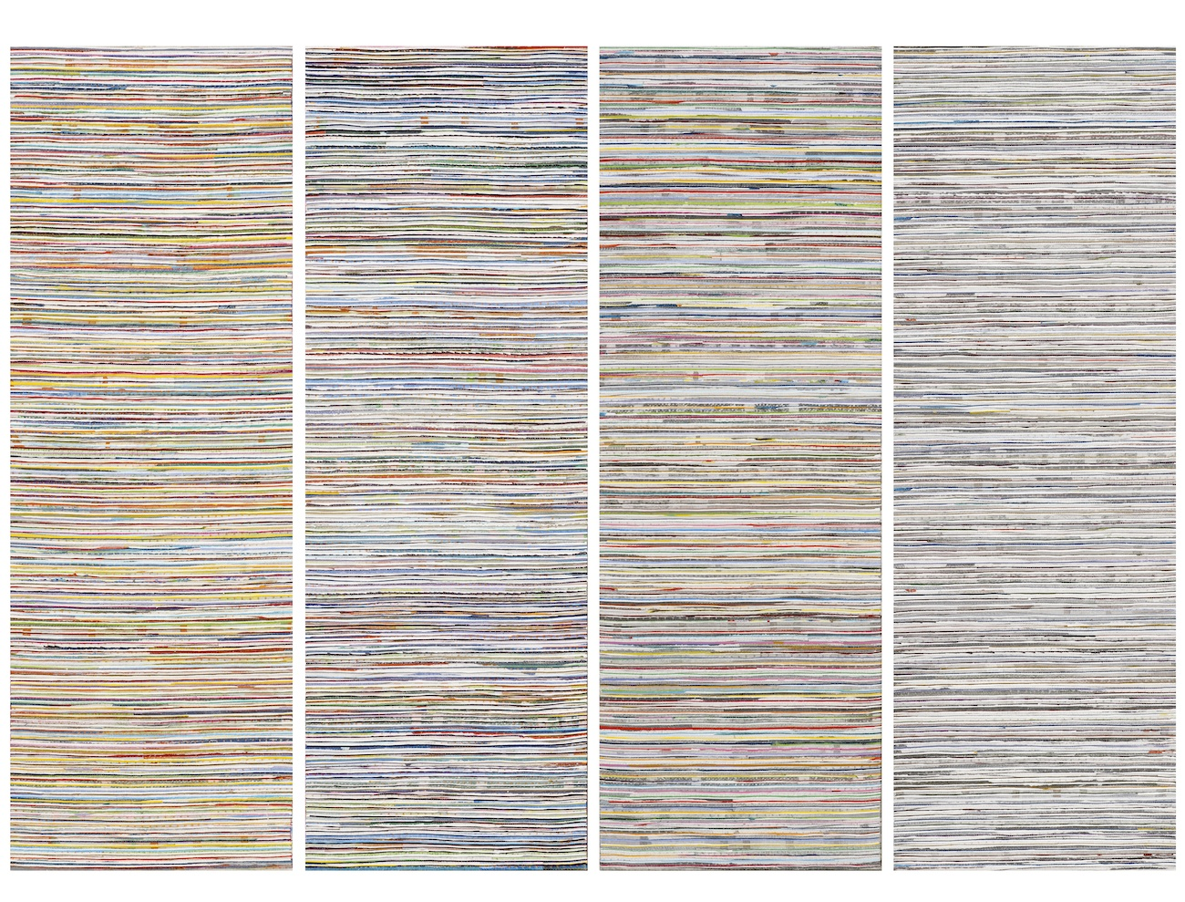 Middle Ground - In the Line 2014, acrylic and nylon thread on linen, 50 x 200cm (4 panels). Collection of the Artist