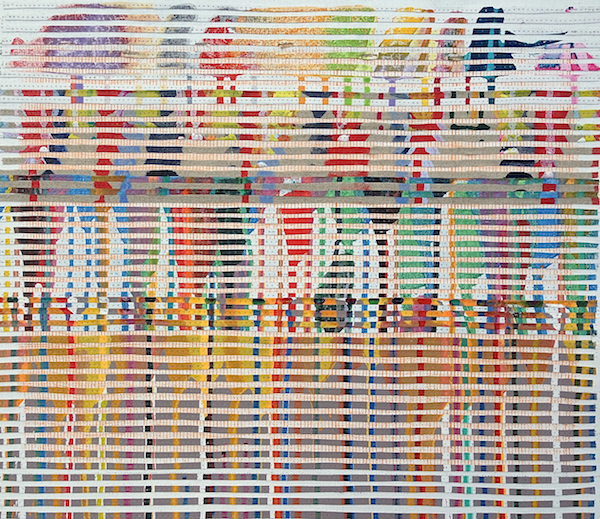 Road Trip - Murchison 2 2013, oil, acrylic and nylon thread on linen, 46 x 51cm. Private Collection