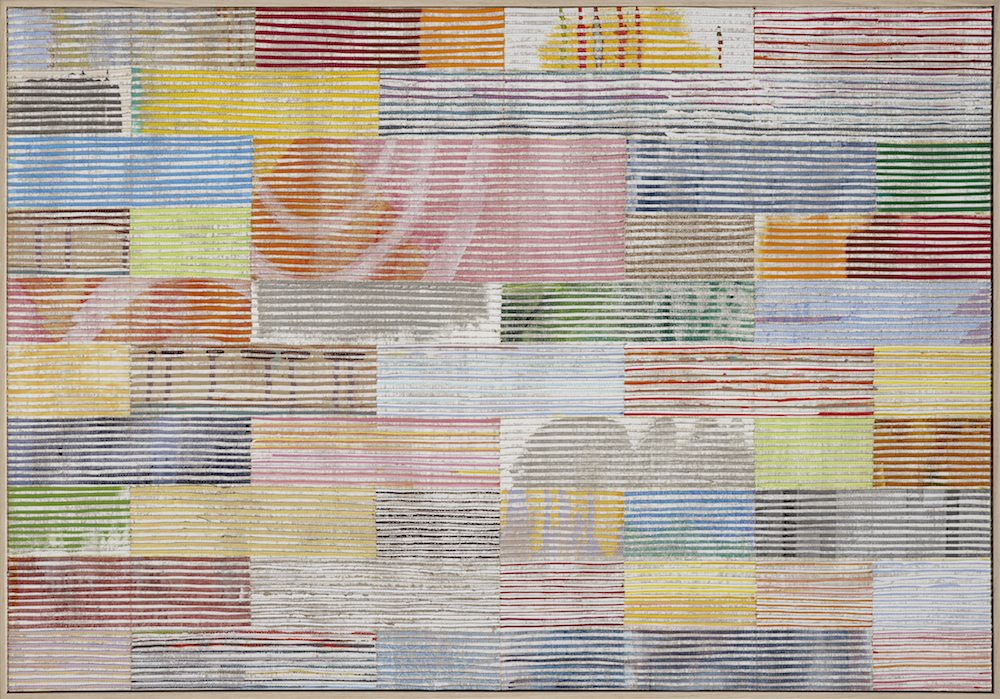 Road Trip - Murchison 2011, oil, acrylic and nylon thread on linen, 70 x 95cm. City of Greater Geraldton Art Collection