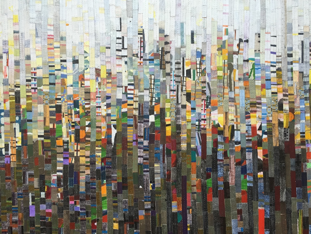 City Shapes Recut 1 2012, oil, acrylic and nylon thread on linen, 65 x 80cm. Private Collection
