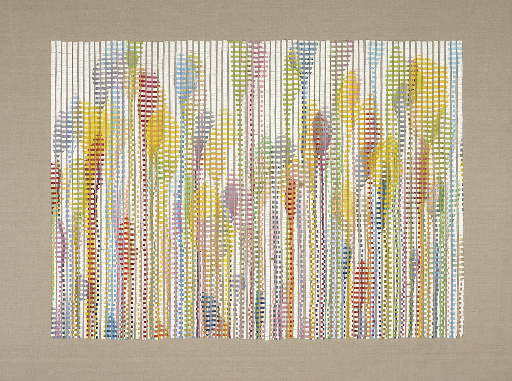 Flower Garden 1 2013, acrylic and nylon thread on linen, 100 x 130cm. Private Collection