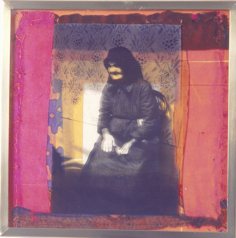 Old Photographs, Second Round - Mari Neni 1995, photographic transfer on acrylic sheet on woodcut on paper, 30 x 30cm. Private Collection