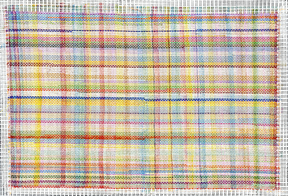 Thrum Threads 2016, wool, cotton thread and permanent marker on tapestry canvas, 26 x 39cm. Collection of the artist.jpg
