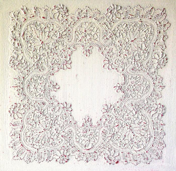 Eveline Kotai - Inheritance, 2015, hand made lace handkerchief + bio-paint on linen, 60x60cm, collection of artist