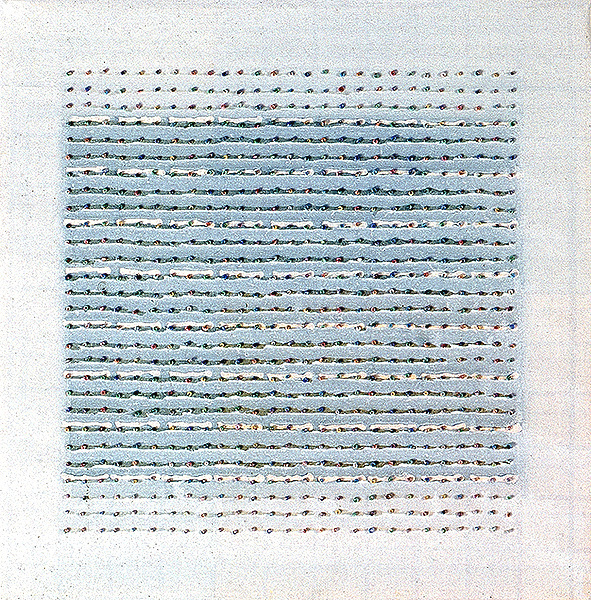 Dot to Dot 2 2003, acrylic and beads on canvas, 35.5 x 35.5cm.