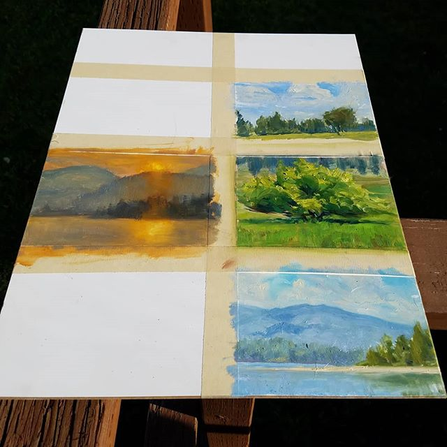 So tempting to prematurely peel the tape... . @jclareart gave me the idea to do a multi-study panel. Definitely efficient. . #pleinairpainting #pleinair #pleinairpainter #study