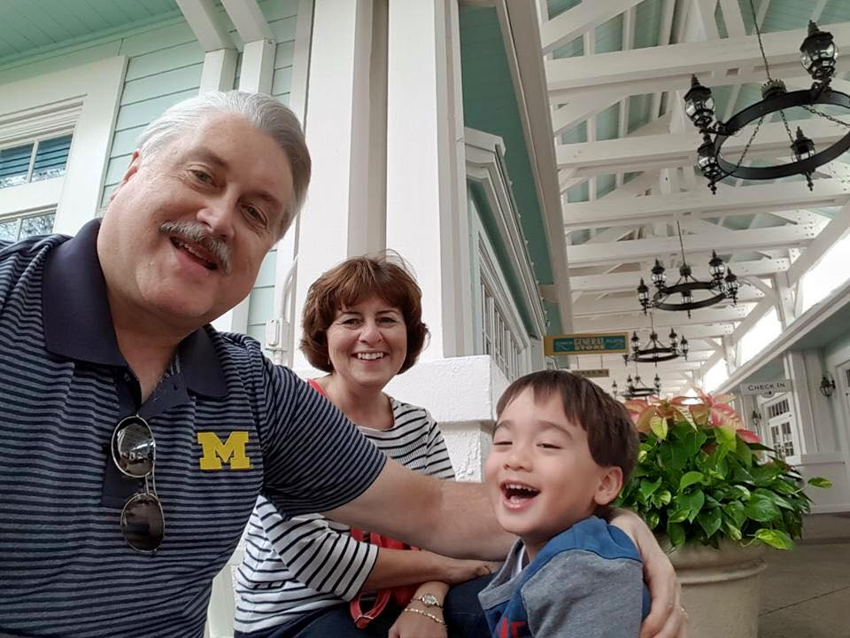 Connor, Grammy, and Papa at the Disney House