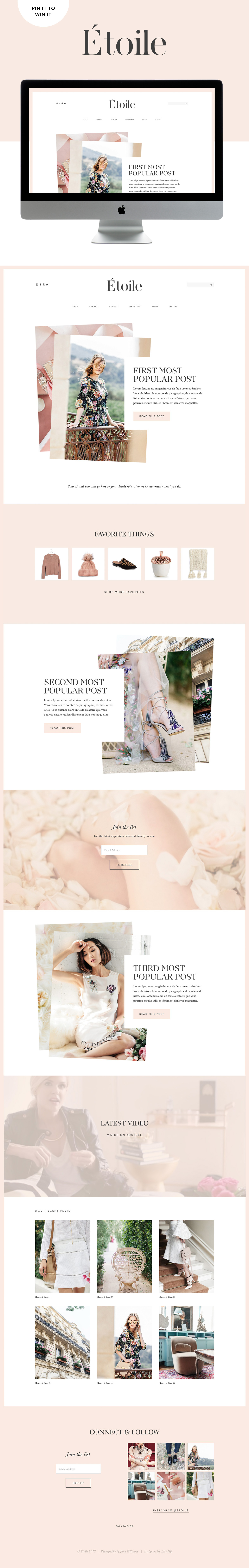 Clean feminine fashion blog website template for squarespace by Go Live Hq