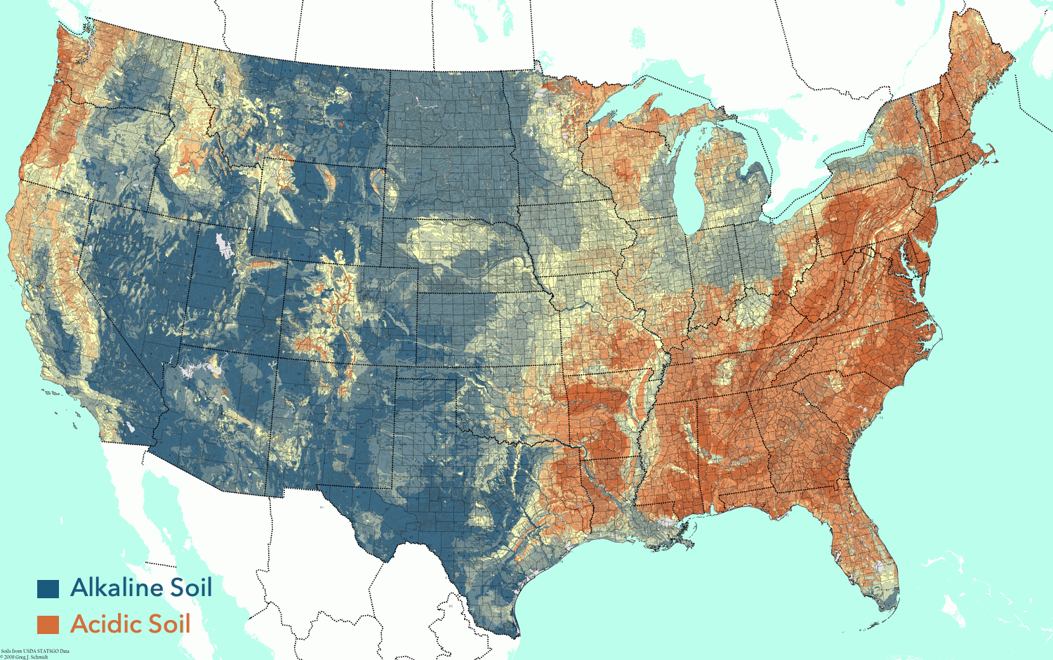 truSpring Grow is primarily intended for areas with highly alkaline soil (shown in blue).