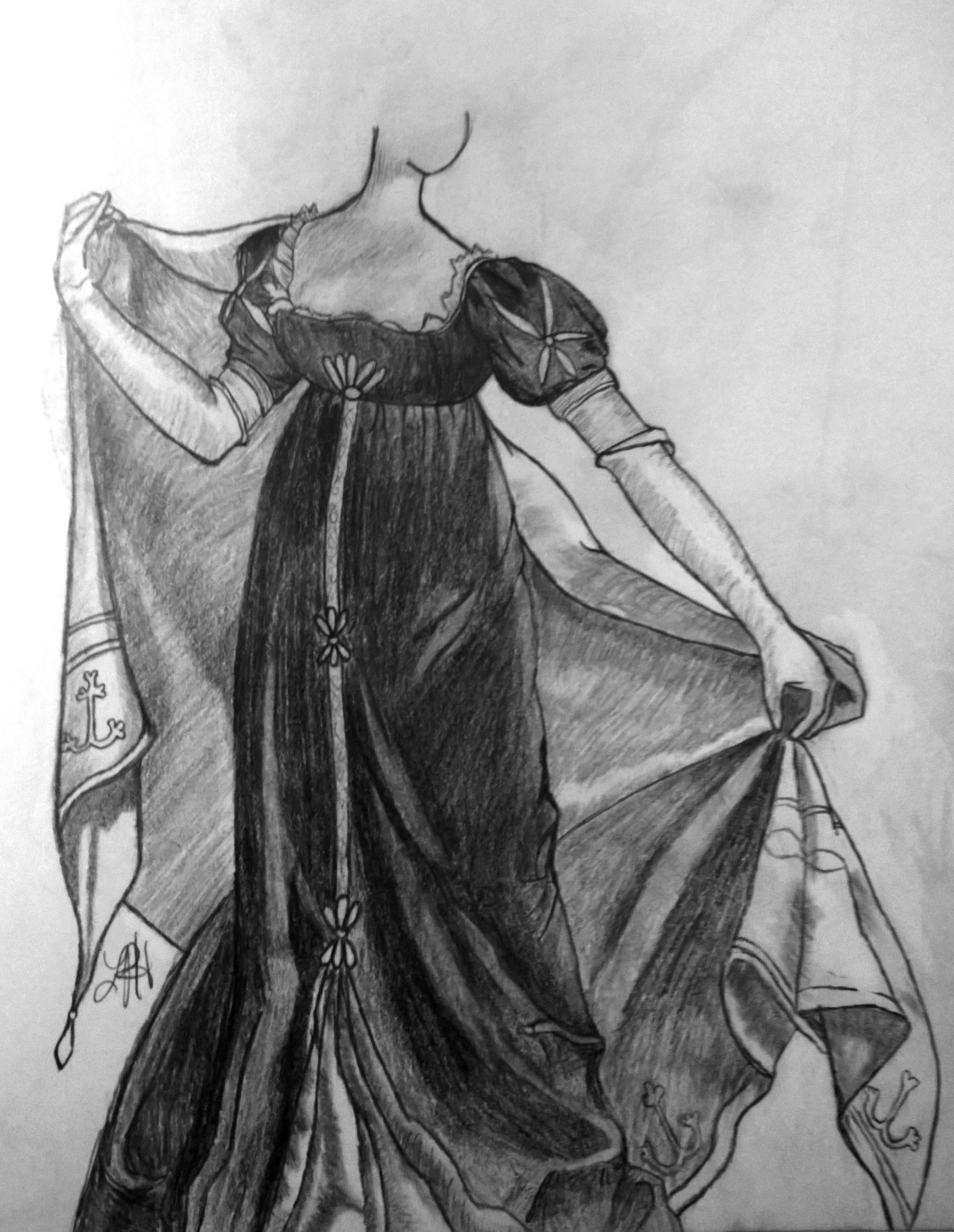 My original drawing. My focus for this was originally shading and folds.