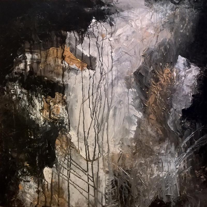 "'Behind the Waterfalls' 24"" x 24"" x 1.5"" by Lauren Hodges"