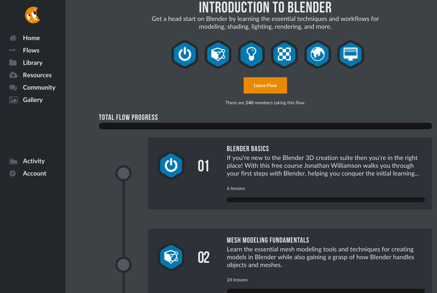Screenshot of beginning of Blender flow. The very first part of the flow 'Blender Basics' is FREE.