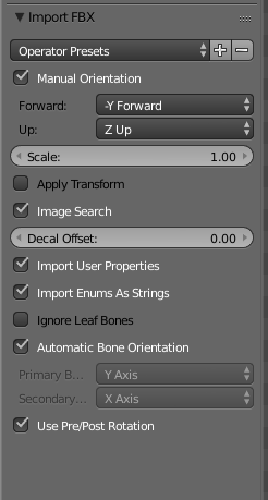 Settings for importing an FBX model into Blender used in Unreal Engine