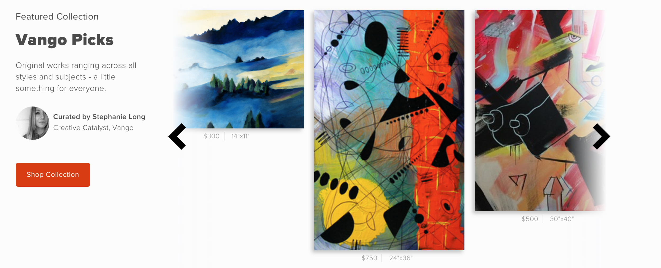Now this is a homepage that features artists and their work. (One section on the homepage)