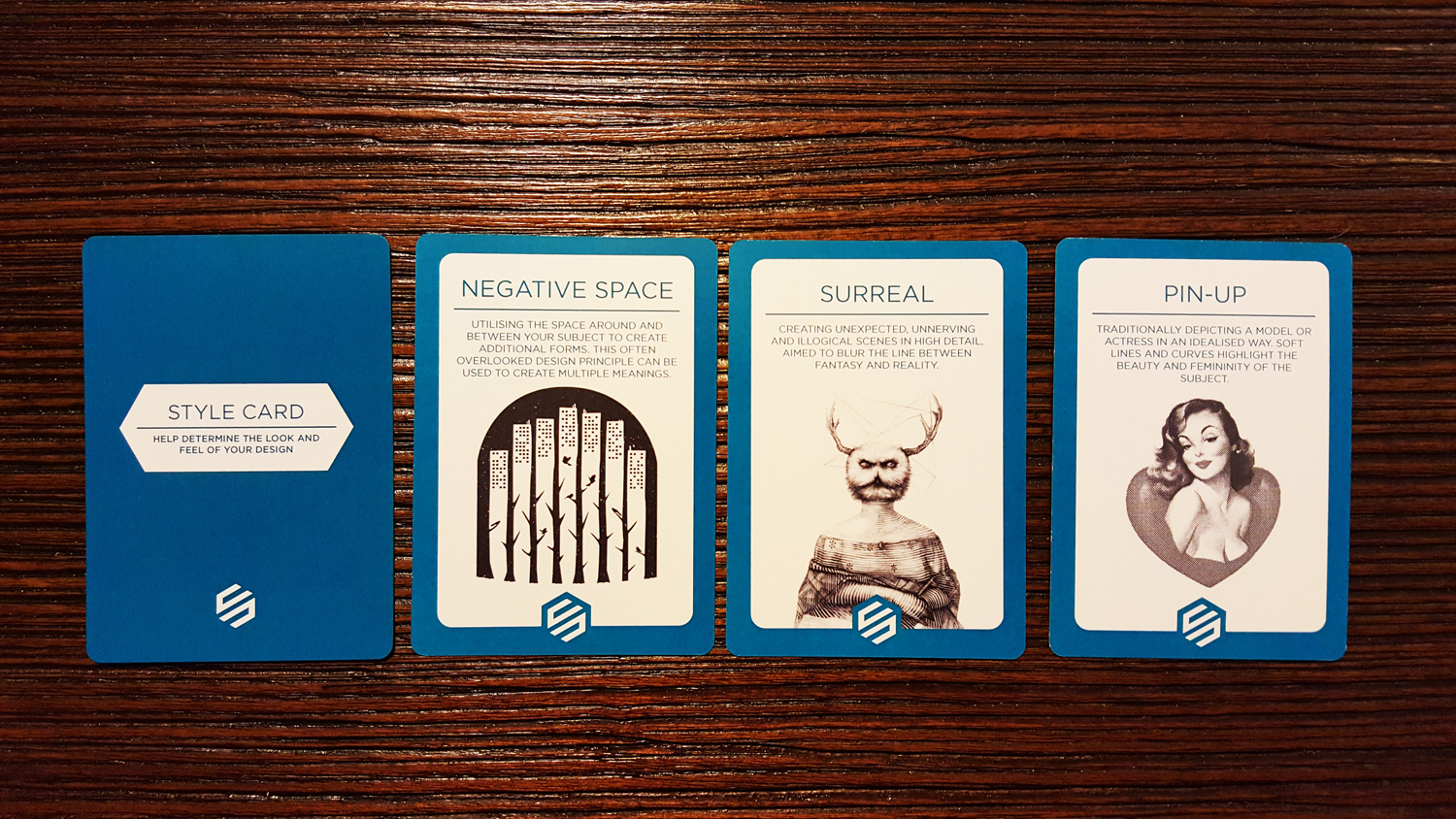 There are 30 style cards total. Each card has a unique graphic/illustration that describes the style.These 3 are some of my favorites in the deck.